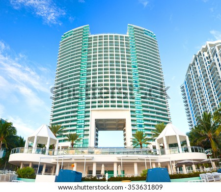 HOLLYWOOD BEACH, FLORIDA USA-October 15, 2015:Westin Diplomat Hotel opened in 2002 is the largest Hollywood Beach hotel resort and convention center - stock photo
