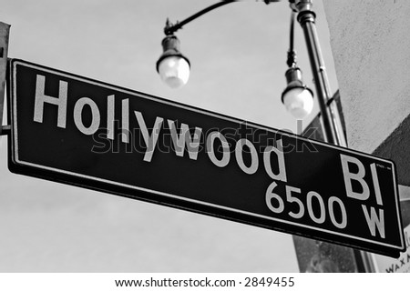 hollywood bl street sign - stock photo