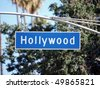 Hollywood Blvd street sign with tall trees. - stock photo