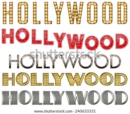 Hollywood Burlesque Marquee Word Collection - stock photo