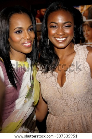 HOLLYWOOD, CA - APRIL 19, 2010: Kerry Washington and Tatyana Ali at the Los Angeles premiere of 'Mother and Child' held at the Egyptian Theater in Hollywood, USA on April 19, 2010. - stock photo