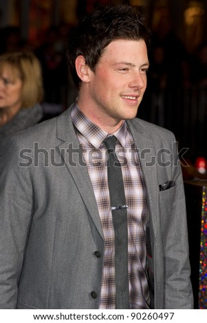 "HOLLYWOOD, CA - DECEMBER 5: Actor Cory Monteith arrives at the premiere of ""New Year's Eve"" at Grauman's Chinese Theater on December 5, 2011 in Hollywood, California"