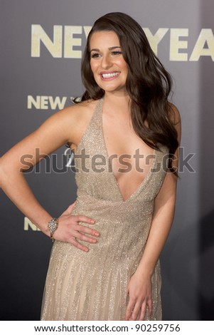 "HOLLYWOOD, CA - DECEMBER 5: Actress Lea Michele arrives at the premiere of ""New Year's Eve"" at Grauman's Chinese Theater on December 5, 2011 in Hollywood, California"