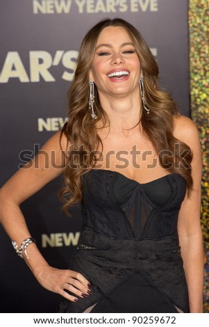 "HOLLYWOOD, CA - DECEMBER 5: Actress Sofia Vergara arrives at the premiere of ""New Year's Eve"" at Grauman's Chinese Theater on December 5, 2011 in Hollywood, California - stock photo"