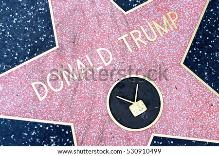 HOLLYWOOD, CA - DECEMBER 06:  Donald Trump's star has been replaced after vandalizing on the Hollywood Walk of Fame in Hollywood, California on Dec. 6, 2016.