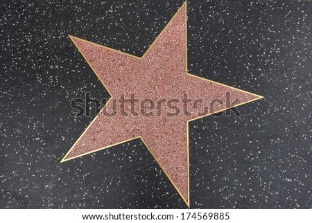 HOLLYWOOD,CA - DECEMBER 18, 2013:  empty star on Hollywood Walk of Fame in Hollywood, California. This star is located on Hollywood Blvd.