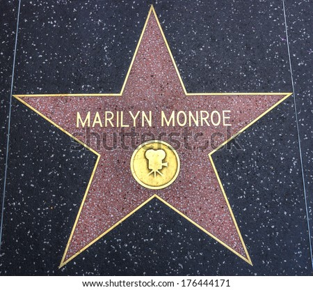 HOLLYWOOD,CA - DECEMBER 19, 2013: : Marilyn Monroe's star on Hollywood Walk of Fame. This star is located on Hollywood Blvd. and is one of 2400 celebrity stars. - stock photo