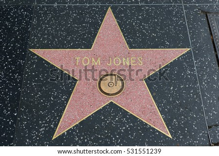 HOLLYWOOD, CA - DECEMBER 06: Tom Jones star on the Hollywood Walk of Fame in Hollywood, California on Dec. 6, 2016.