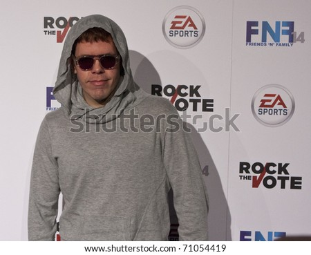 HOLLYWOOD, CA - FEBRUARY 11: Blogger Perez Hilton arrives at the 14th annual 'Friends 'N' Family' GRAMMY event at Paramount Studios on February 11, 2011 in Hollywood, California. - stock photo