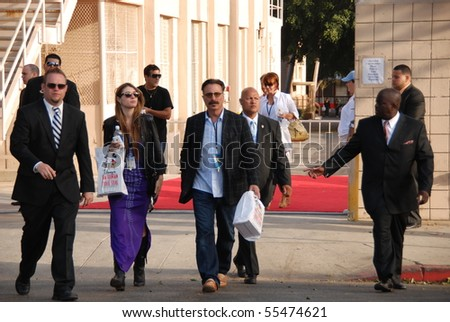 HOLLYWOOD, CA - JUNE 13: Actor Andy Garcia (Center) at the World Premiere of Disney/Pixar's 'Toy Story 3' on June 13, 2010 at the El Capitan Theatre in Hollywood, California. - stock photo