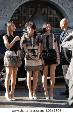 "HOLLYWOOD, CA- JUNE 18: (L-R) singers Kashiyuka, Achan and Norechi from Japanese band ""Perfume"" attend the Disney's Pixar ""Cars 2"" premiere, held at El Capitan Theatre, June 18, 2011 in Hollywood,CA. - stock photo"