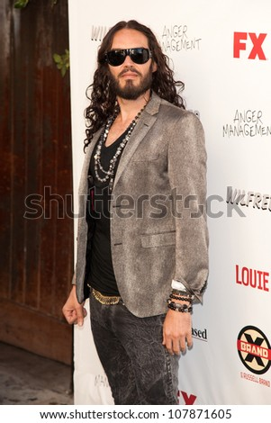HOLLYWOOD, CA - JUNE 26: Russell Brand arrives at FX Summer Comedies party at Lure on June 26, 2012 in Hollywood, California. - stock photo