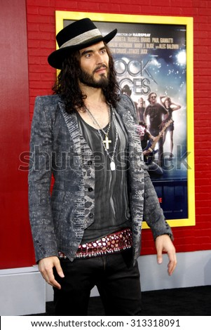 HOLLYWOOD, CA - JUNE 08, 2012: Russell Brand at the Los Angeles premiere of 'Rock of Ages' held at the Grauman's Chinese Theatre in Hollywood, USA on June 8, 2012. - stock photo