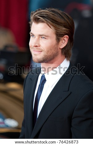 HOLLYWOOD, CA. - MAY 2: Actor Chris Hemsworth arrives at the Los Angeles premiere of Thor at the El Capitan Theatre on May 2, 2011 in Hollywood, California.