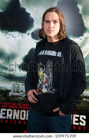 HOLLYWOOD, CA - MAY 23: Jason Mewes arrives at the Special Fan Screening of Chernobyl Diaries at the Cinerama Dome on May 23, 2012 in Hollywood, California. - stock photo