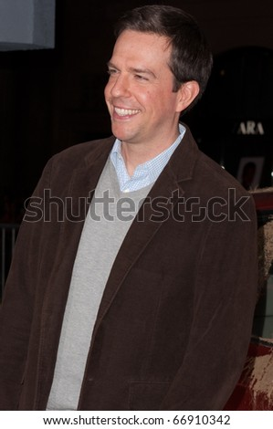 "HOLLYWOOD, CA - NOVEMBER 28: Actor Ed Helms arrives to the premiere of the movie ""Due Date"" at the Grauman's Chinese Theater, on November 28, 2010 in Los Angeles, CA"
