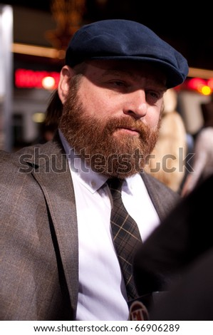 "HOLLYWOOD, CA - NOVEMBER 28: Actor Zach Galifianakis arrives to the premiere of the movie ""Due Date"" at the Grauman's Chinese Theater, on November 28, 2010 in Los Angeles, CA"