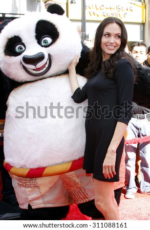 HOLLYWOOD, CA - NOVEMBER 09, 2008: Angelina Jolie at the Los Angeles premiere of 'Secrets of the Furious Five' held at the Grauman's Chinese Theater in Hollywood, USA on November 9, 2008. - stock photo