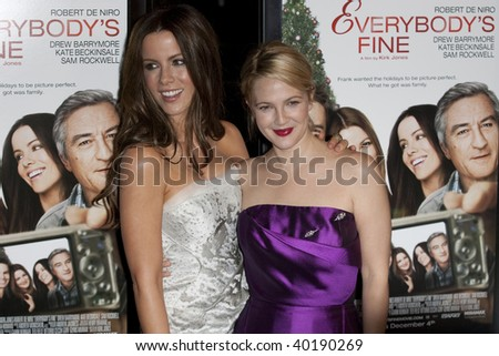 HOLLYWOOD, CA. - NOVEMBER 3: Kate Beckinsale (L) and Drew Barrymore (R attend the AFI Fest premier of Everybody's Fine at The Grauman's Chinese Theater on November 3, 2009 in Hollywood. - stock photo