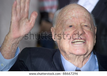 "HOLLYWOOD, CA - NOVEMBER 12: Mickey Rooney arrives at the Los Angeles premiere of ""The Muppets"" held at the El Capitan Theater on November 12, 2011 in Hollywood, CA"