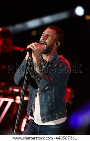 HOLLYWOOD, CA-OCT 24: Adam Levine of Maroon 5 performs onstage during CBS RADIOs third annual We Can Survive, presented by Chrysler, at the Hollywood Bowl on October 24, 2015 in Hollywood, California. - stock photo
