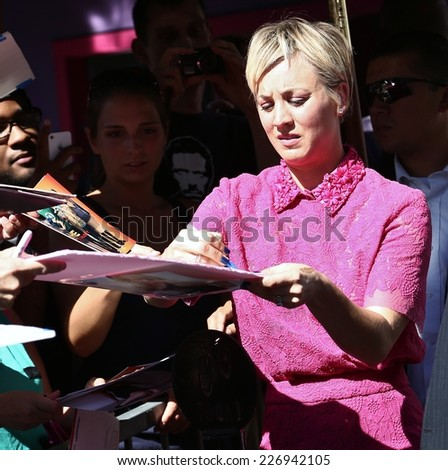HOLLYWOOD CA - OCTOBER 29, 2014: Actor Kaley Cuoco receives at star on the Hollywood Walk of Fame October 29, 2014. - stock photo