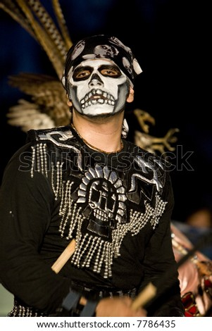 Hollywood, CA October 27th, 2007:  Day of the Dead Festival (Dia de los Muertos) at the Hollywood Forever Cemetary.  Xipepotec performing ceremonial Aztec dances. - stock photo
