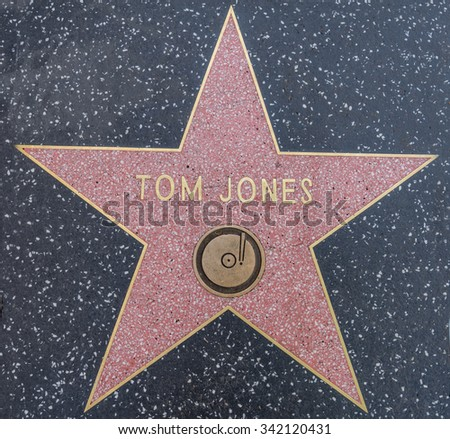 HOLLYWOOD,CA - OCTOBER 8,2015: Tom Jones star on Hollywood Walk of Fame in Hollywood, California. This star is located on Hollywood Blvd. and is one of 2400 celebrity stars. - stock photo