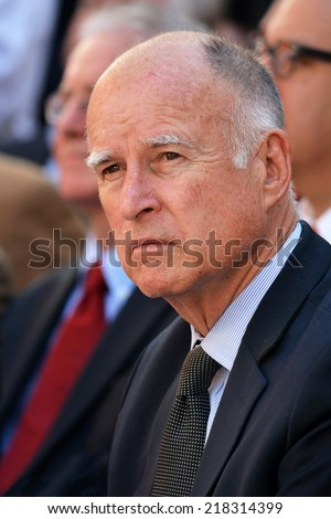 HOLLYWOOD, CA - SEPTEMBER 18, 2014: California Governor Jerry Brown attends the signing of the California Film and Television Job Retention Act in Hollywood, CA on September 18, 2014.