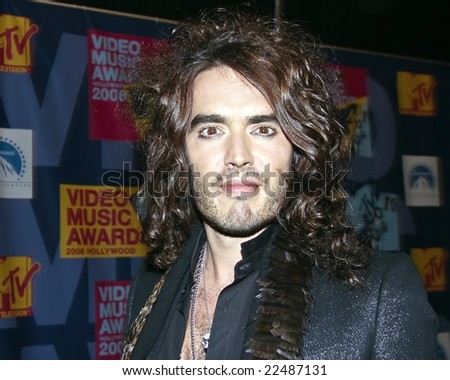 HOLLYWOOD, CA - SEPTEMBER 7: Host and Presenter Russell Brand poses in the Press Room at the 2008 MTV Video Music Awards at Paramount Pictures Studio on September 7, 2008 in Hollywood, California - stock photo