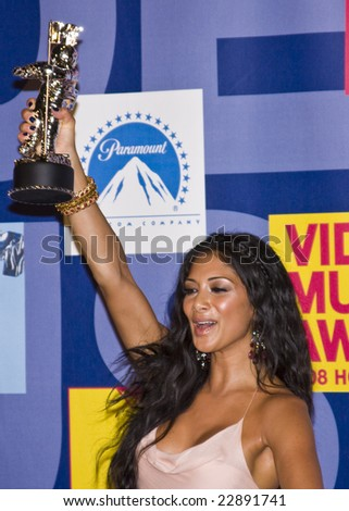 Hollywood, CA - SEPTEMBER 07: Nicole Scherzinger of The Pussycat Dolls posing in the press room at the 2008 MTV Video Music Awards at Paramount Studios on September 7, 2008 in Hollywood, California. - stock photo
