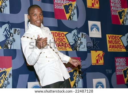 HOLLYWOOD, CA - SEPTEMBER 7: Rapper Lupe Fiasco is striking a pose in the press room at the 2008 MTV Video Music Awards at Paramount Pictures Studio on Sepember 7, 2008 in Hollywood, California - stock photo