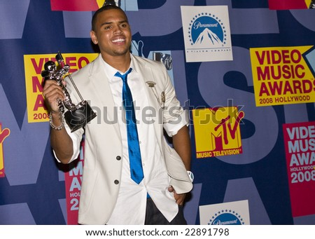 HOLLYWOOD, CA - SEPTEMBER 07: Singer CHRIS BROWN poses in the press room at the 2008 MTV Video Music Awards at Paramount Pictures Studios on September 7, 2008 in Hollywood, California. - stock photo
