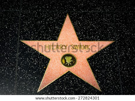 HOLLYWOOD, CA/USA - APRIL 18, 2015: Hilary Swank star on the Hollywood Walk of Fame. The Hollywood Walk of Fame is made up of brass stars embedded in the sidewalks on Hollywood Blvd. - stock photo
