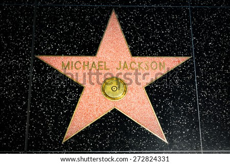 HOLLYWOOD, CA/USA - APRIL 18, 2015: Michael Jackson star on the Hollywood Walk of Fame. The Hollywood Walk of Fame is made up of brass stars embedded in the sidewalks on Hollywood Blvd. - stock photo