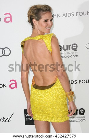 Hollywood, CA, USA; February 26, 2012; Heidi Klum arrives to the 20th Annual Elton John AIDS Foundation Academy Awards Viewing Party. - stock photo