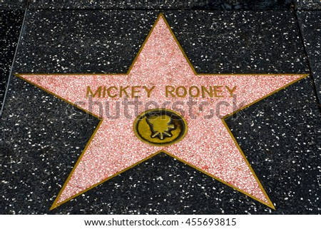 HOLLYWOOD, CA/USA - JULY 9, 2016:  Mickey Rooney star on the Hollywood walk of fame. - stock photo