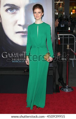Hollywood, CA, USA; March 18, 2013; Rose Leslie arrives to the 'Game of Thrones' Season 3 premiere in Hollywood, California.  - stock photo