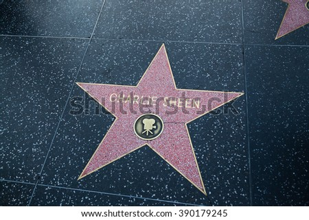 HOLLYWOOD, CALIFORNIA - February 8 2015: Charlie Sheen's Hollywood Walk of Fame star on February 8, 2015 in Hollywood, CA.