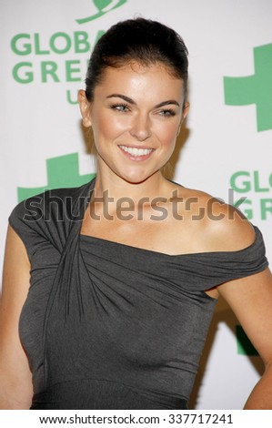 HOLLYWOOD, CALIFORNIA - February 22, 2012. Serinda Swan at the Global Green USA's 9th Annual Pre-Oscar Party held at the Avalon Hollywood, Los Angeles. - stock photo