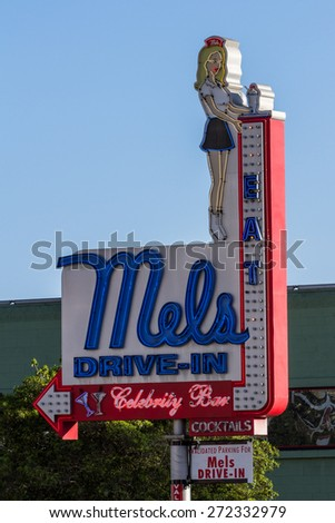 Hollywood, California - February 08 : Street view of the sign for he famous Mels Drive-In, February 08 2015 in Hollywood, California. - stock photo