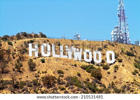 HOLLYWOOD CALIFORNIA - JUNE 30: Hollywood Sign, on June 30, 2014 in Hollywood California - stock photo