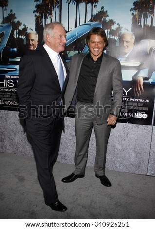"""HOLLYWOOD, CALIFORNIA - March 22, 2011. Matt Damon and Jerry Weintraub at the Los Angeles premiere of """"His Way"""" held at the Paramount Studios, Los Angeles.  - stock photo"""