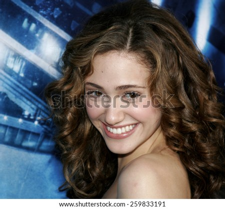 "HOLLYWOOD, CALIFORNIA. May 10, 2006. Emmy Rossum at the Los Angeles Premiere of ""Poseidon"" held at the Grauman's Chinese Theater in Hollywood, California United States. - stock photo"
