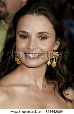 "HOLLYWOOD, CALIFORNIA. May 10, 2006. Mia Maestro attends the Los Angeles Premiere of ""Poseidon"" held at the Grauman's Chinese Theater in Hollywood, California United States."