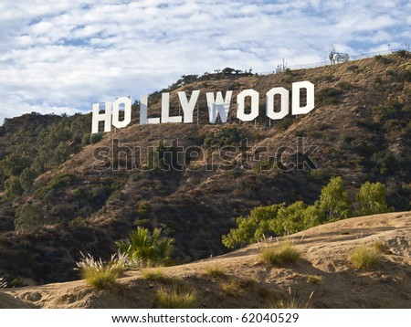 HOLLYWOOD CALIFORNIA - SEPTEMBER 29: Hugh Hefner donates money to the Hollywood sign trust to save 138 acres behind the sign from development, on September 29, 2010 in Los Angeles, California. - stock photo