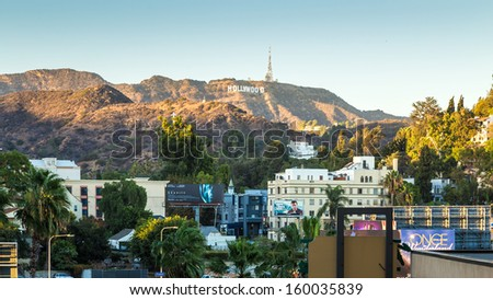 HOLLYWOOD, CALIFORNIA - SEPTEMBER 28: The world famous landmark Hollywood Sign on September 28, 2013 in Los Angeles, California. - stock photo