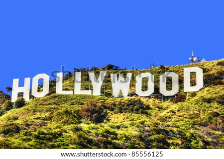 HOLLYWOOD CALIFORNIA - SEPTEMBER 3: The world famous landmark Hollywood Sign on September 3, 2011 in Hollywood, California. The sign was created as an advertisement in 1923. - stock photo