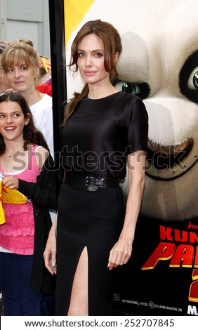"HOLLYWOOD, CALIFORNIA - Sunday May 22, 2011. Angelina Jolie at the Los Angeles premiere of ""Kung Fu Panda 2"" held at the Grauman's Chinese Theater, Los Angeles. - stock photo"