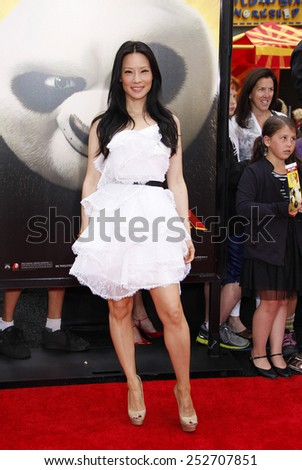 "HOLLYWOOD, CALIFORNIA - Sunday May 22, 2011. Lucy Liu at the Los Angeles premiere of ""Kung Fu Panda 2"" held at the Grauman's Chinese Theater, Los Angeles.  - stock photo"